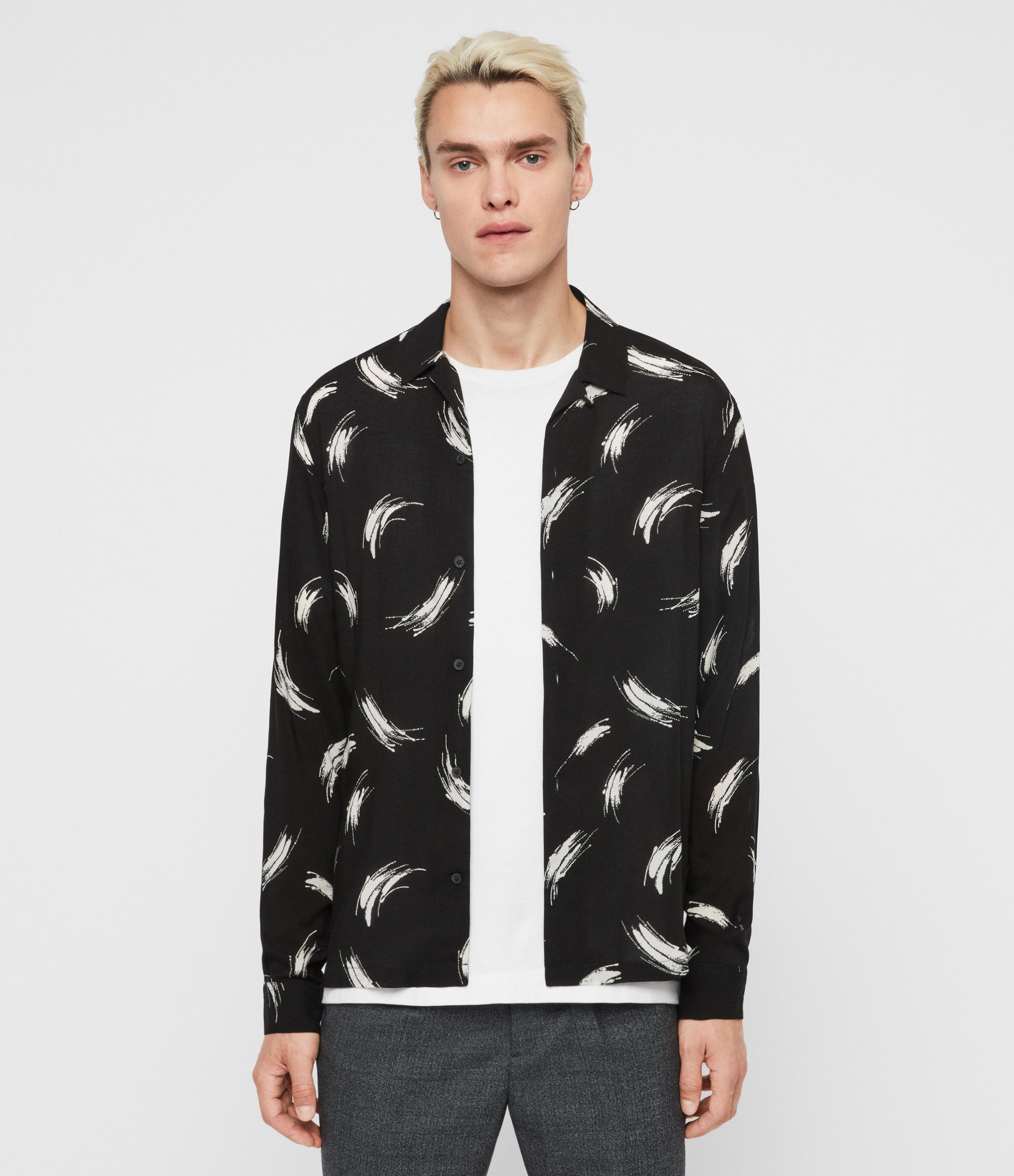 AllSaints Men's Floral Lightweight Stroke Long Sleeve Shirt, Black and White, Size: XL