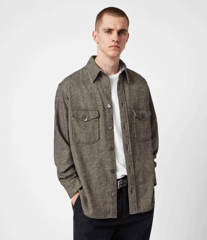 AllSaints Mens Carabinier Shirt, Grey, Size: S
