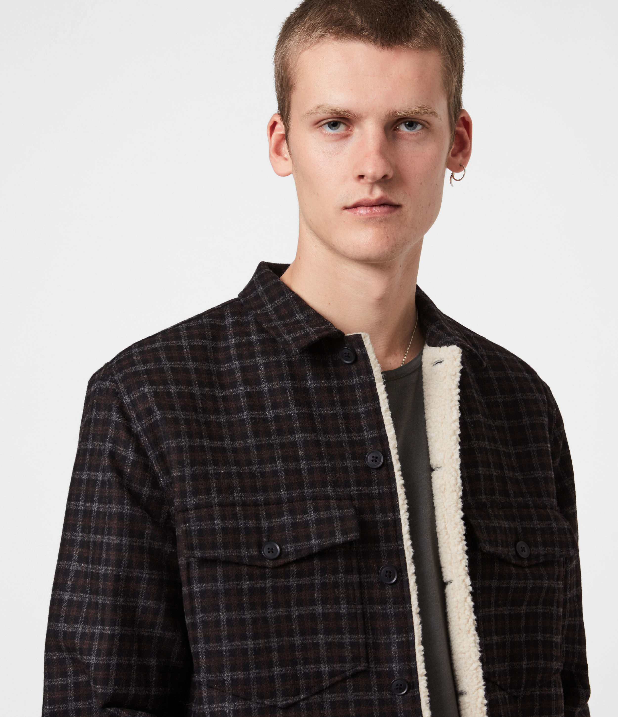 AllSaints Mens Seaford Sherpa-Lined Shirt, Black, Size: M