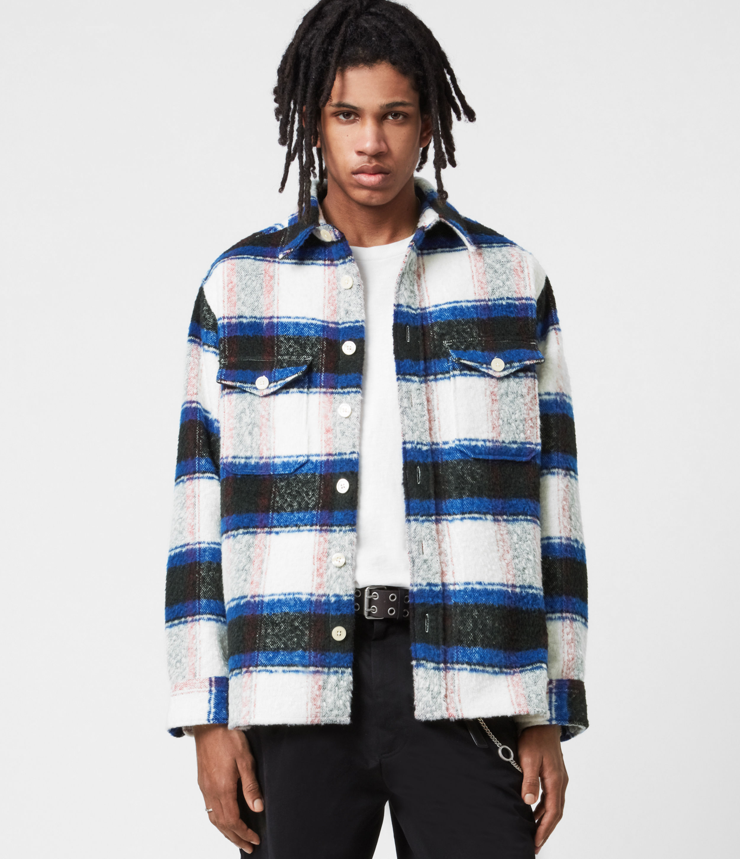 AllSaints Men's Check Classic Rayado Shirt, White, Pink and Blue, Size: XS