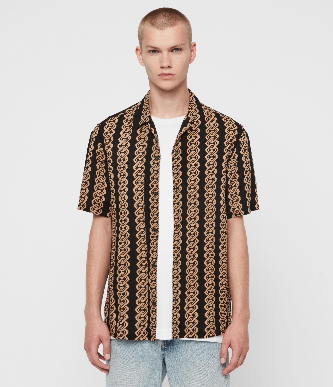 AllSaints Men's Stripe Lightweight Link Shirt, Black and Yellow, Size: M