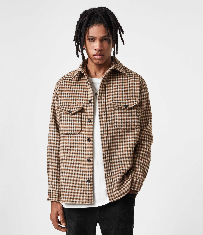 AllSaints Men's Cotton Check Tierra Shirt, Brown and Beige, Size: M