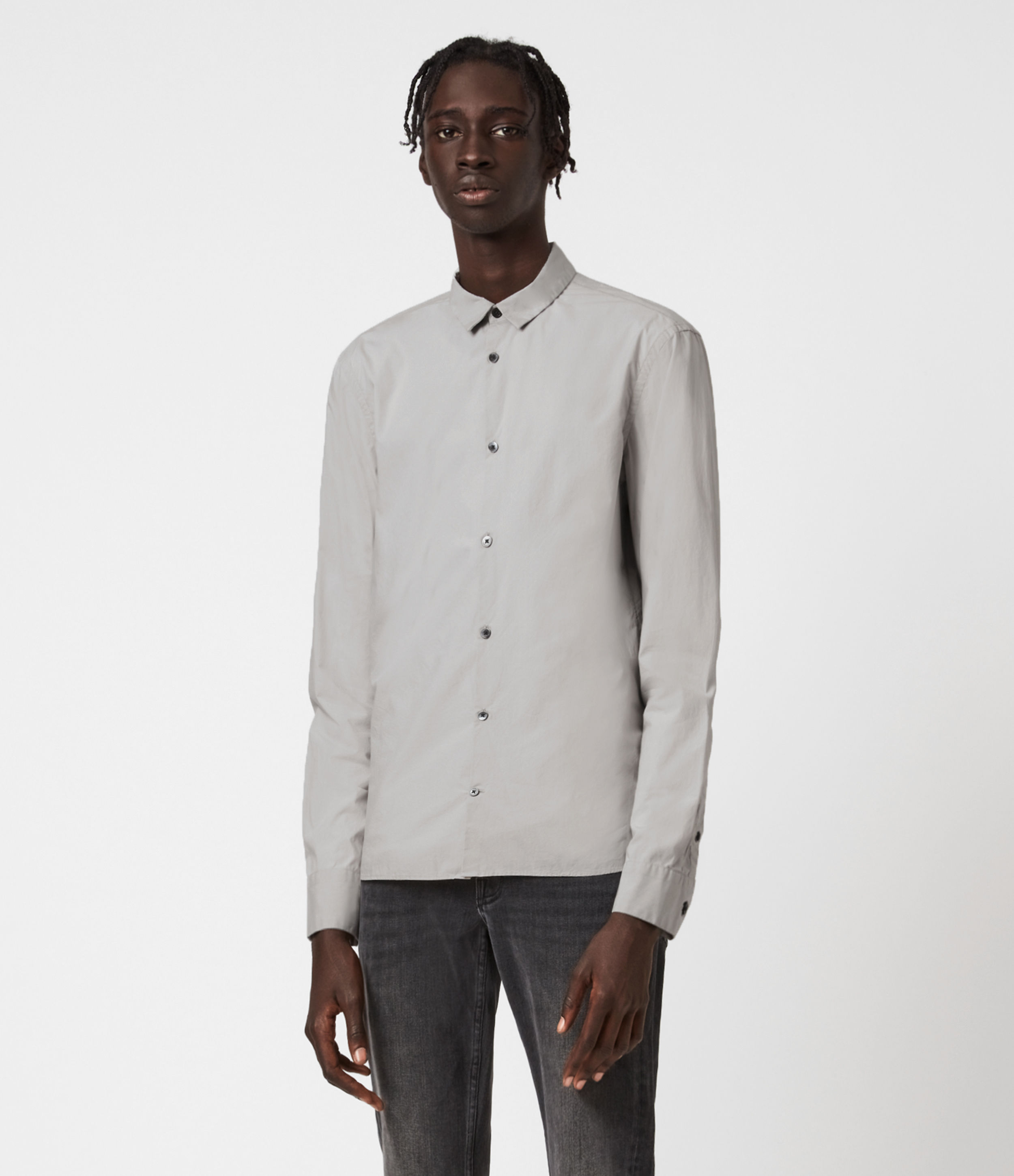 AllSaints Mens Elloree Shirt, Light Grey, Size: S