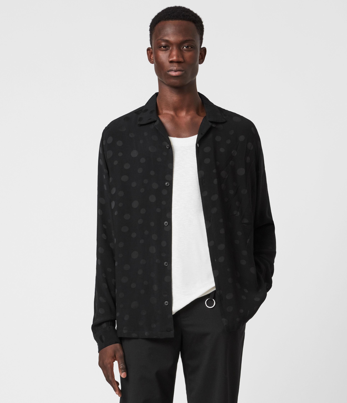 AllSaints Mens Isidro Shirt, Jet Black, Size: S