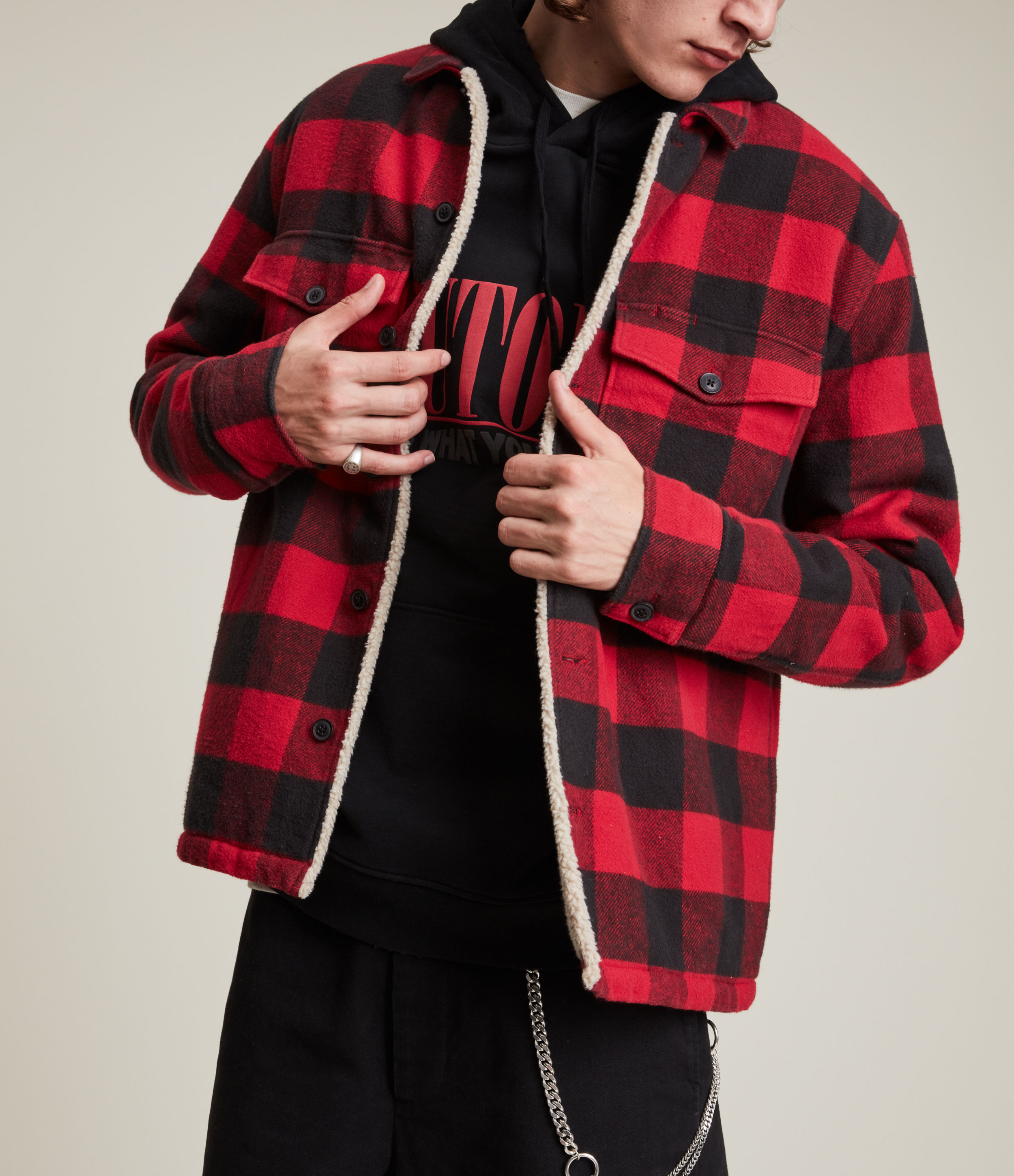 AllSaints Men's Claypool Jacket, Red and Black, Size: S