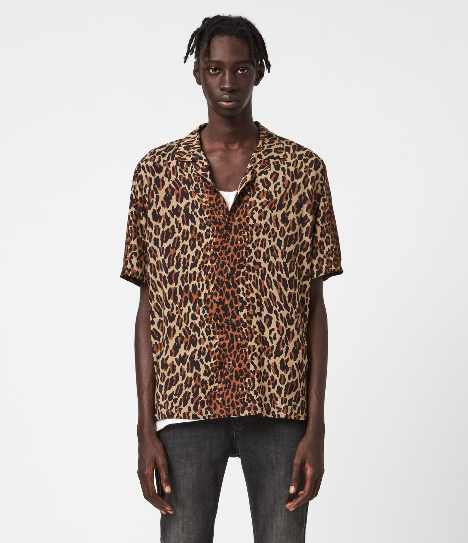AllSaints Mens Vega Shirt, Beige, Size: XS