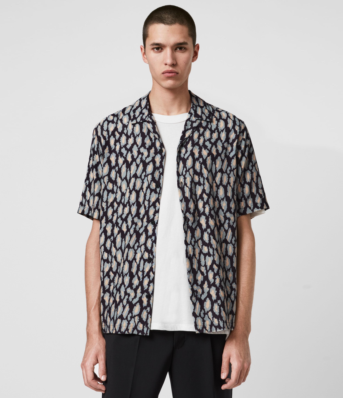 AllSaints Mens Catamere Shirt, Jet Black, Size: L
