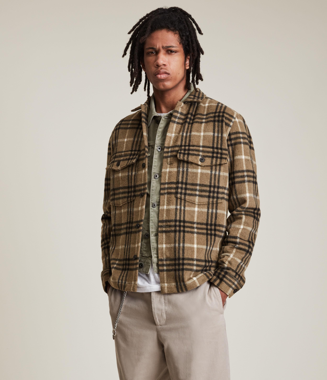 AllSaints Men's Bertholdt Shirt, Dusty Olive Green, Size: S