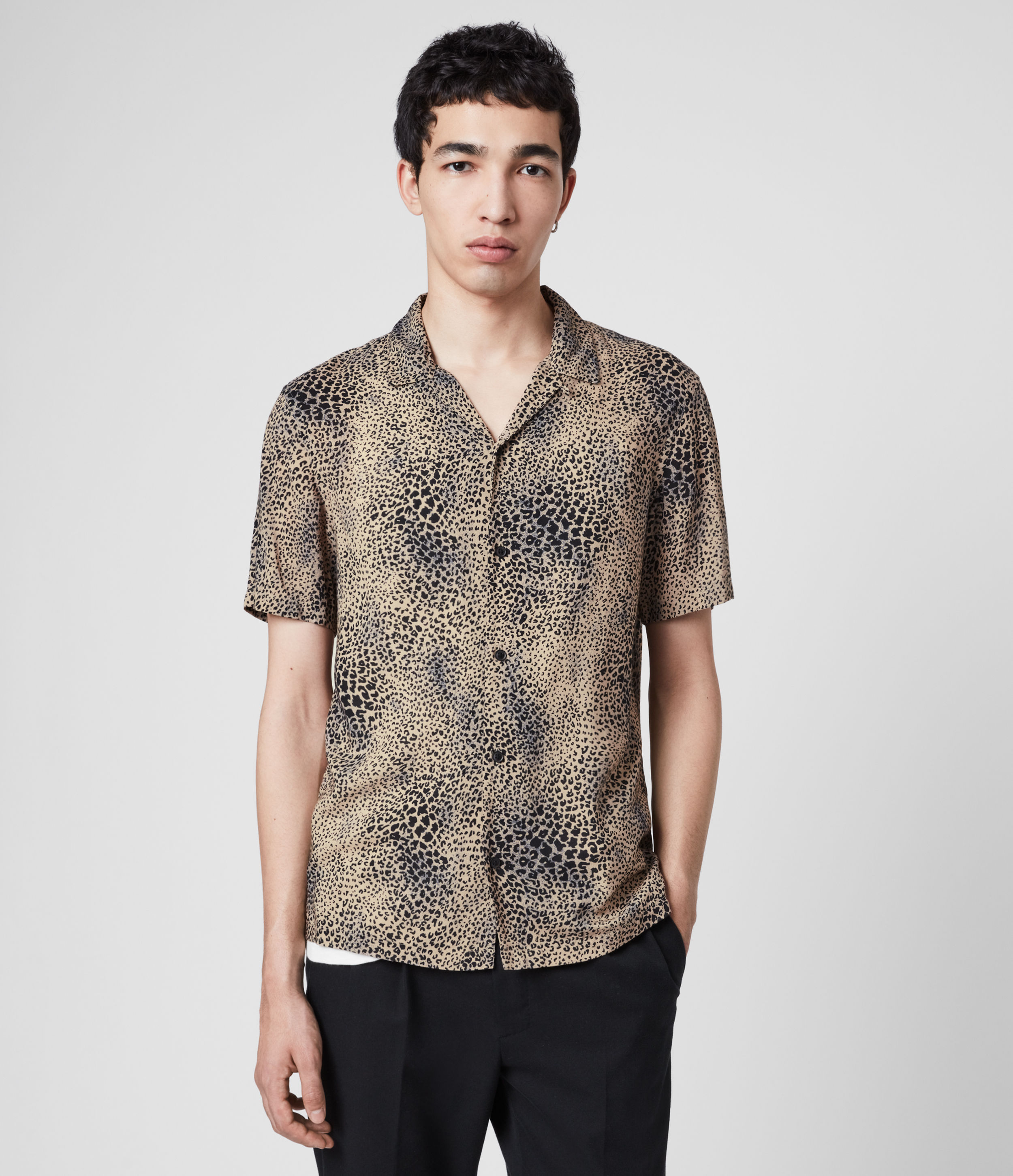 AllSaints Men's Leopard Print Lightweight Diffusion Shirt, Brown and Black, Size: L