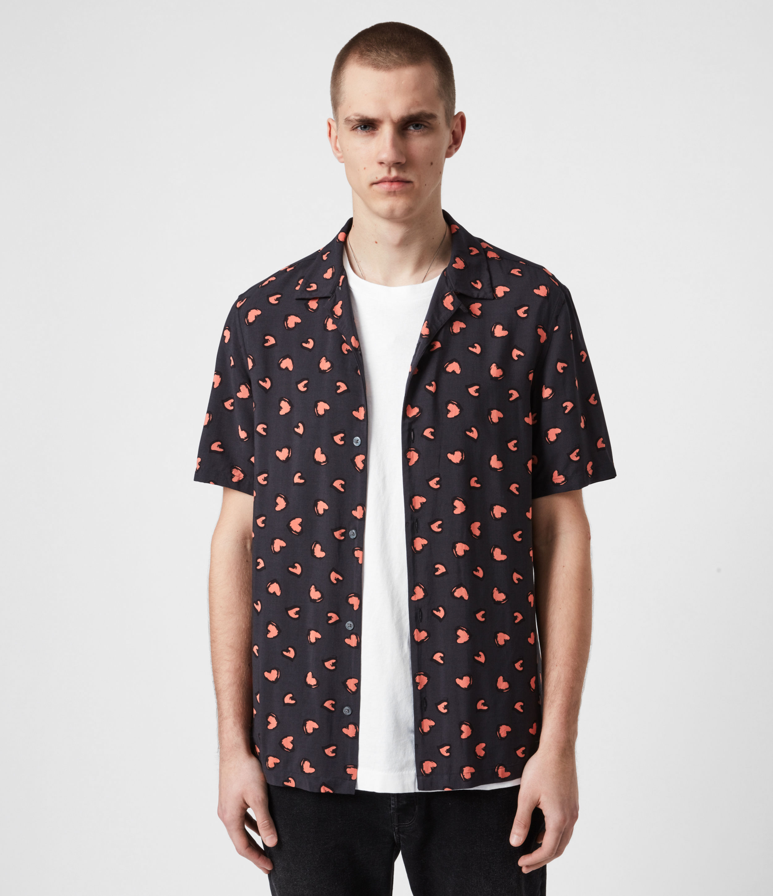 AllSaints Men's Heart Print Lightweight Romanza Shirt, Black and Pink, Size: M
