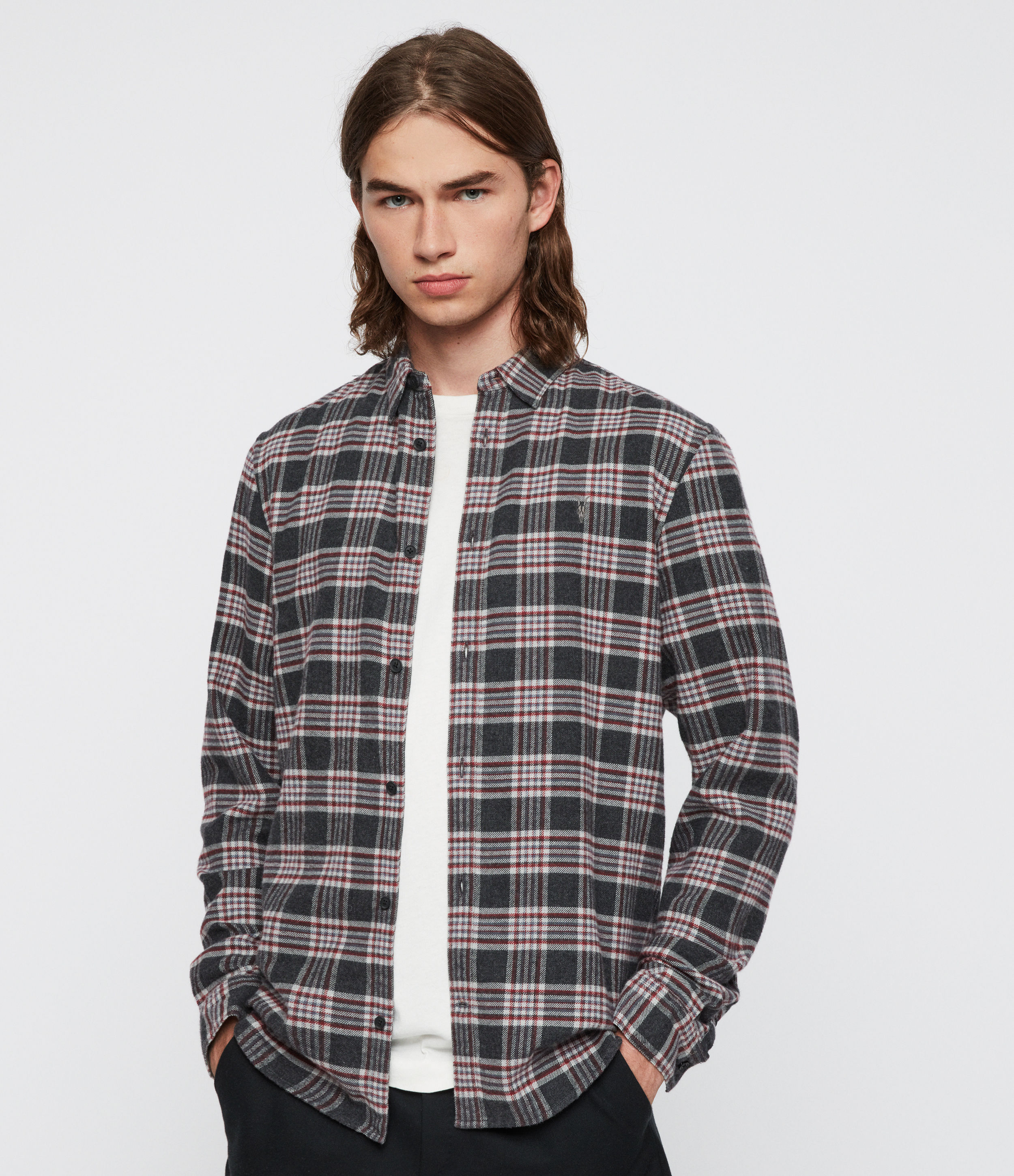 AllSaints Men's Cotton Check Slim Fit Gaines Shirt, Grey and Red, Size: S