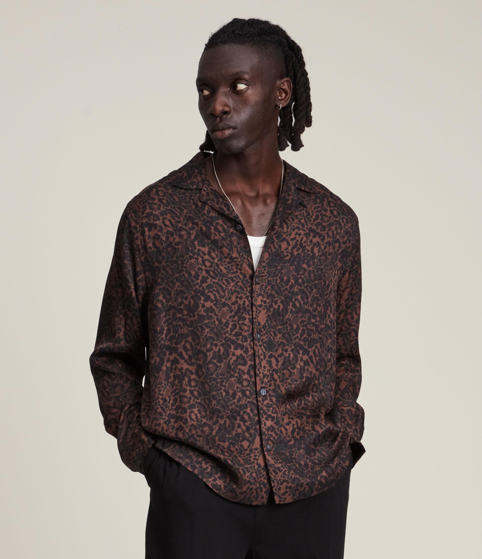 AllSaints Men's Halftone Shirt, Brown/Black, Size: XL