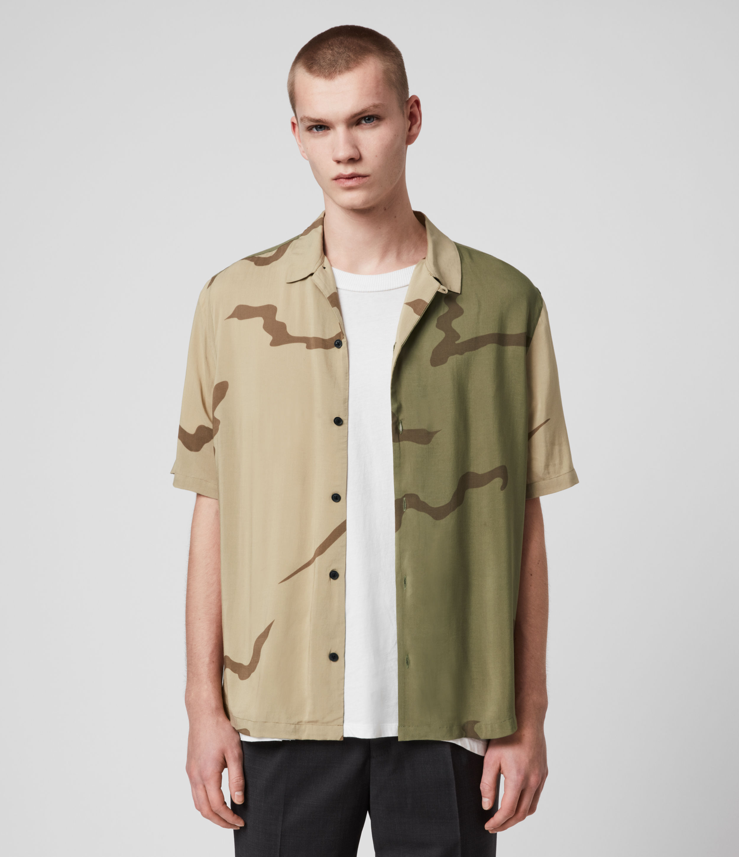 AllSaints Men's Screen Print Lightweight Invasion Shirt, Green and Brown, Size: M