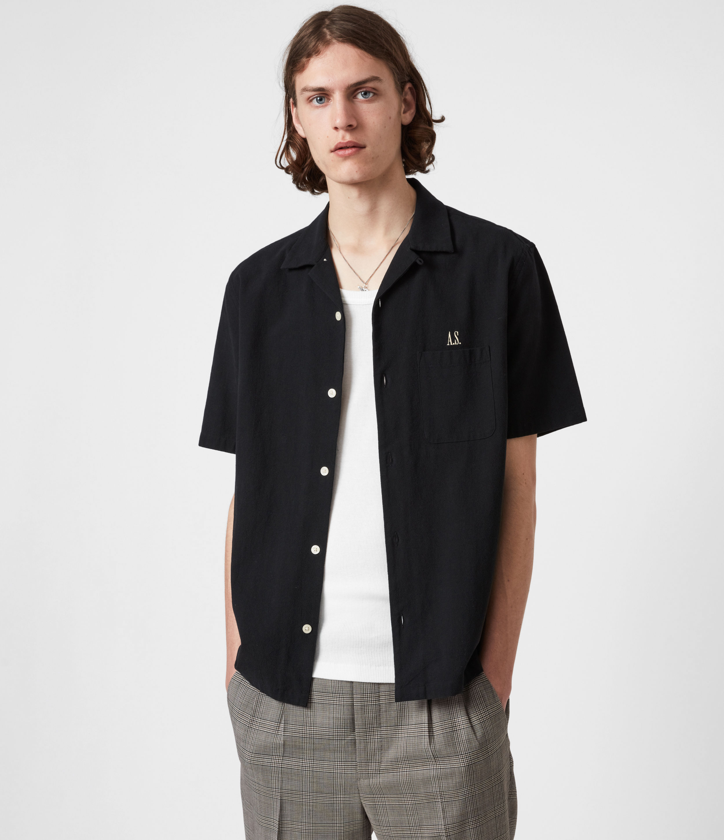 AllSaints Mens Disarm Shirt, Jet Black, Size: M