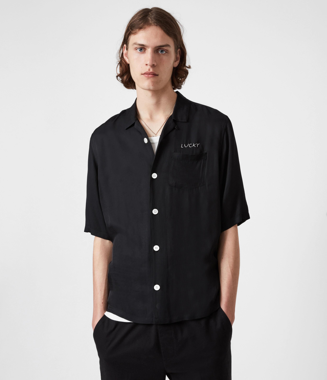 AllSaints Men's Lucky Shirt, Black, Size: S