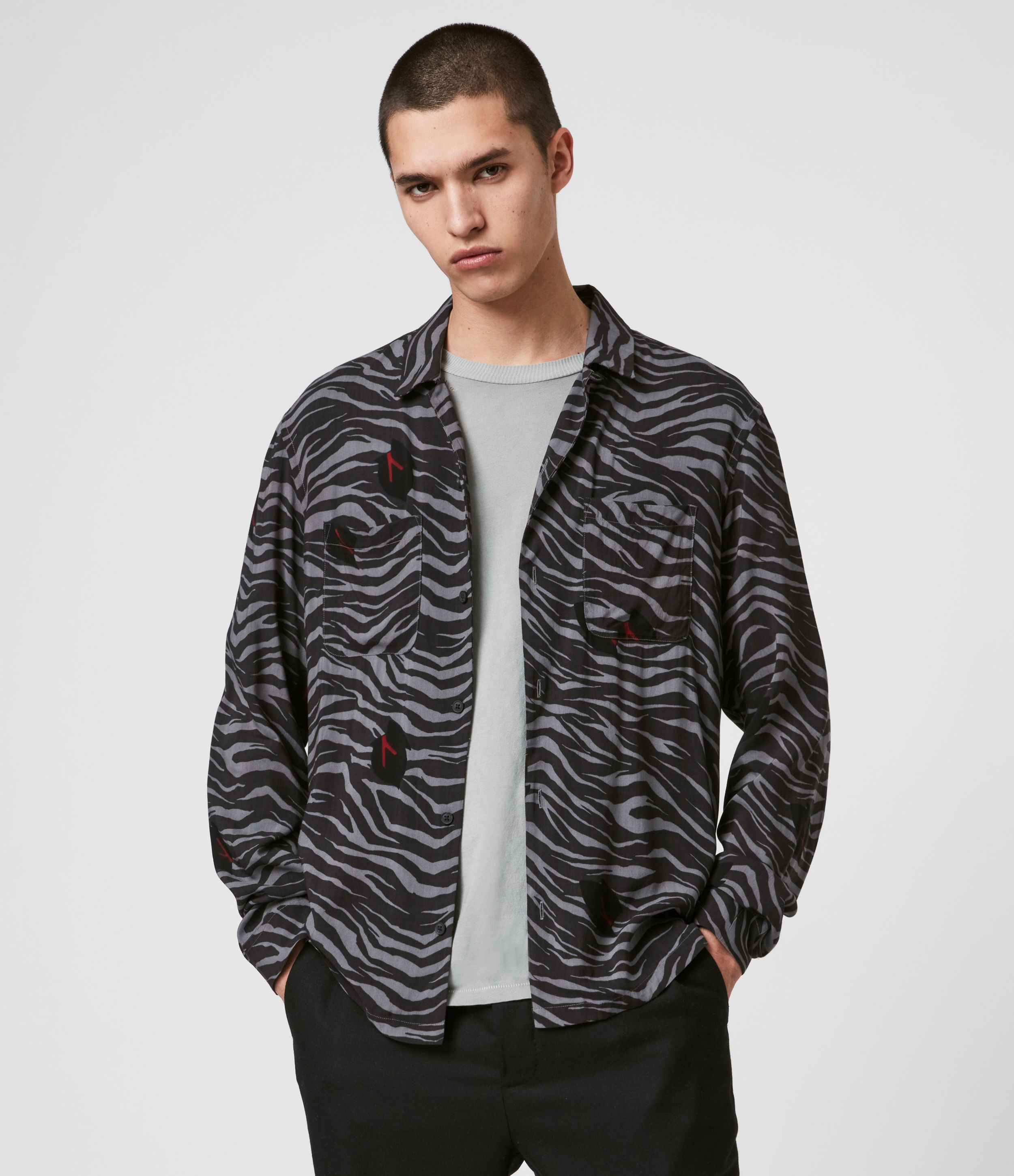 AllSaints Men's All-Over Tiger Stripe Lightweight Lazaro Long Sleeve Shirt, Grey and Black, Size: M