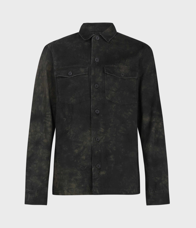 AllSaints Mens Quarters Ls Shirt, Washed Black, Size: XL