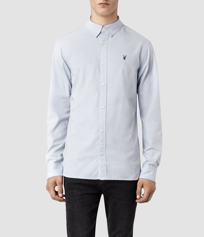 AllSaints Mens Redondo Ls Shirt, Light Blue, Size: S