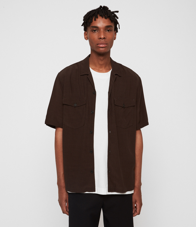 AllSaints Mens Vestal Shirt, Green, Size: XL