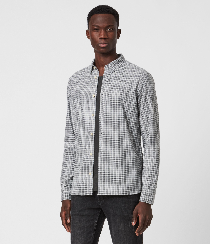 AllSaints Mens Kiosk Shirt, Ecru/grey, Size: M