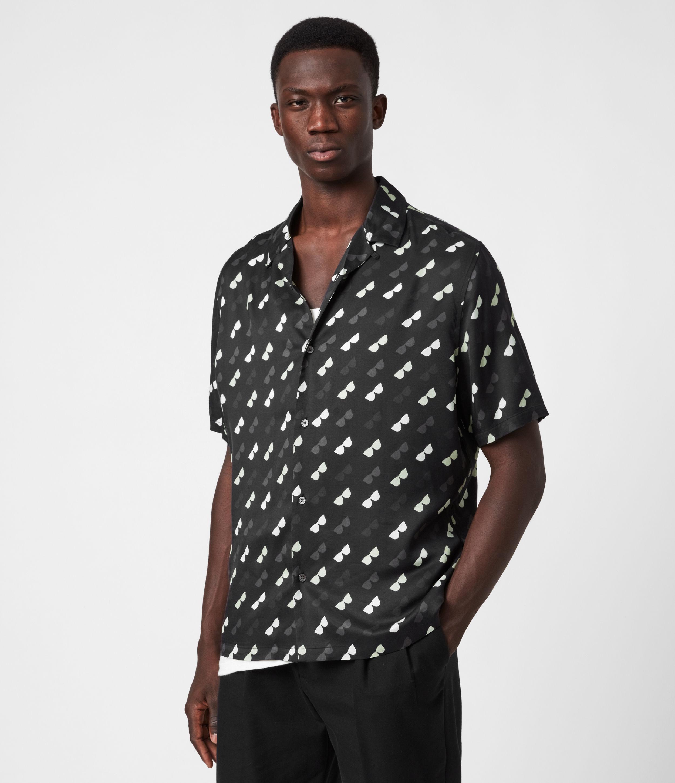 AllSaints Mens Corey Shirt, Black, Size: XL
