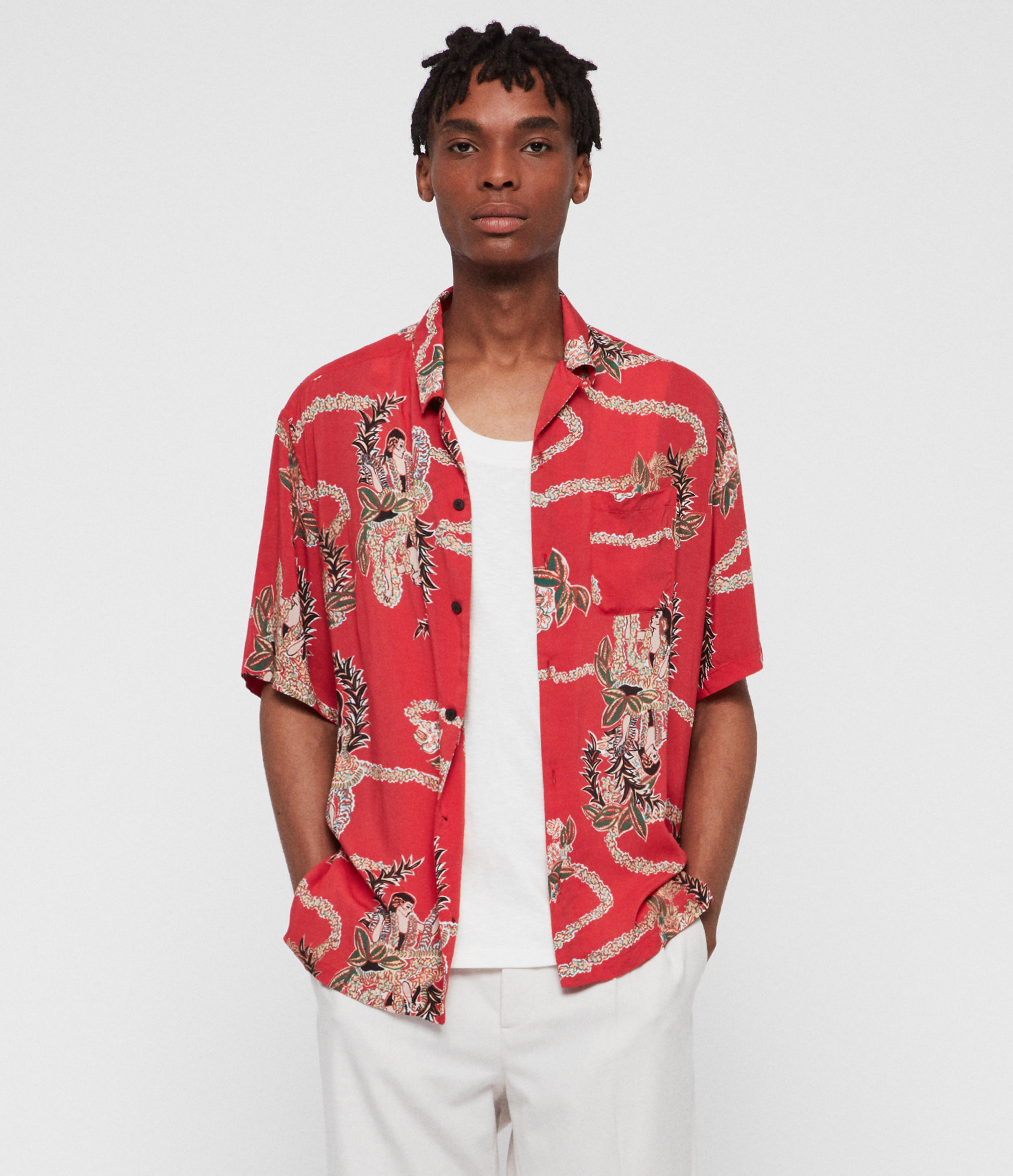 AllSaints Men's Relaxed Fit Makalika Shirt, Red, Green and White, Size: S