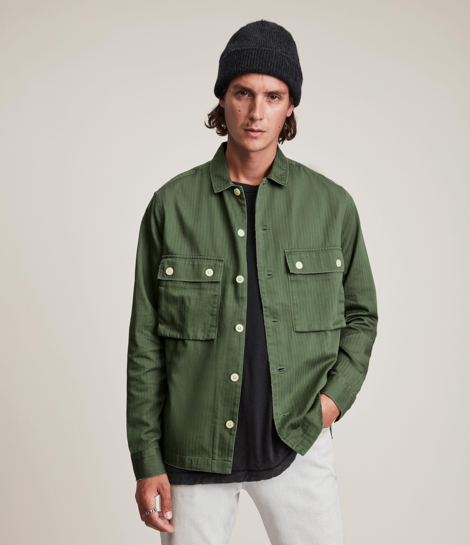 AllSaints Men's Carrier Shirt, Meadow Green, Size: XL