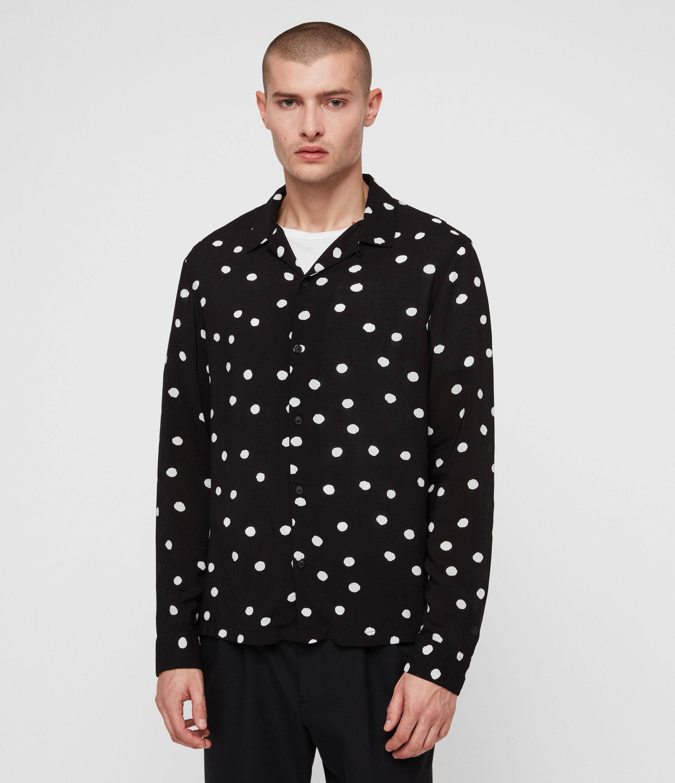 AllSaints Mens Pozere Shirt, JET Black/ecru, Size: L