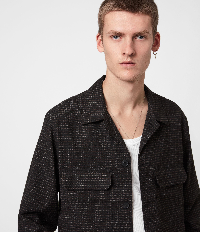 AllSaints Mens Nate Bembel Shirt, Black/tan, Size: L