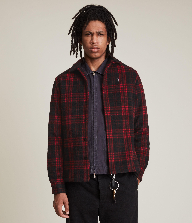 AllSaints Men's Gardo Shirt, Black, Size: XL