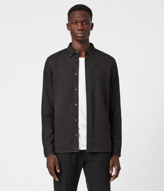 AllSaints Mens Banner Shirt, Iron Bark Brown, Size: S