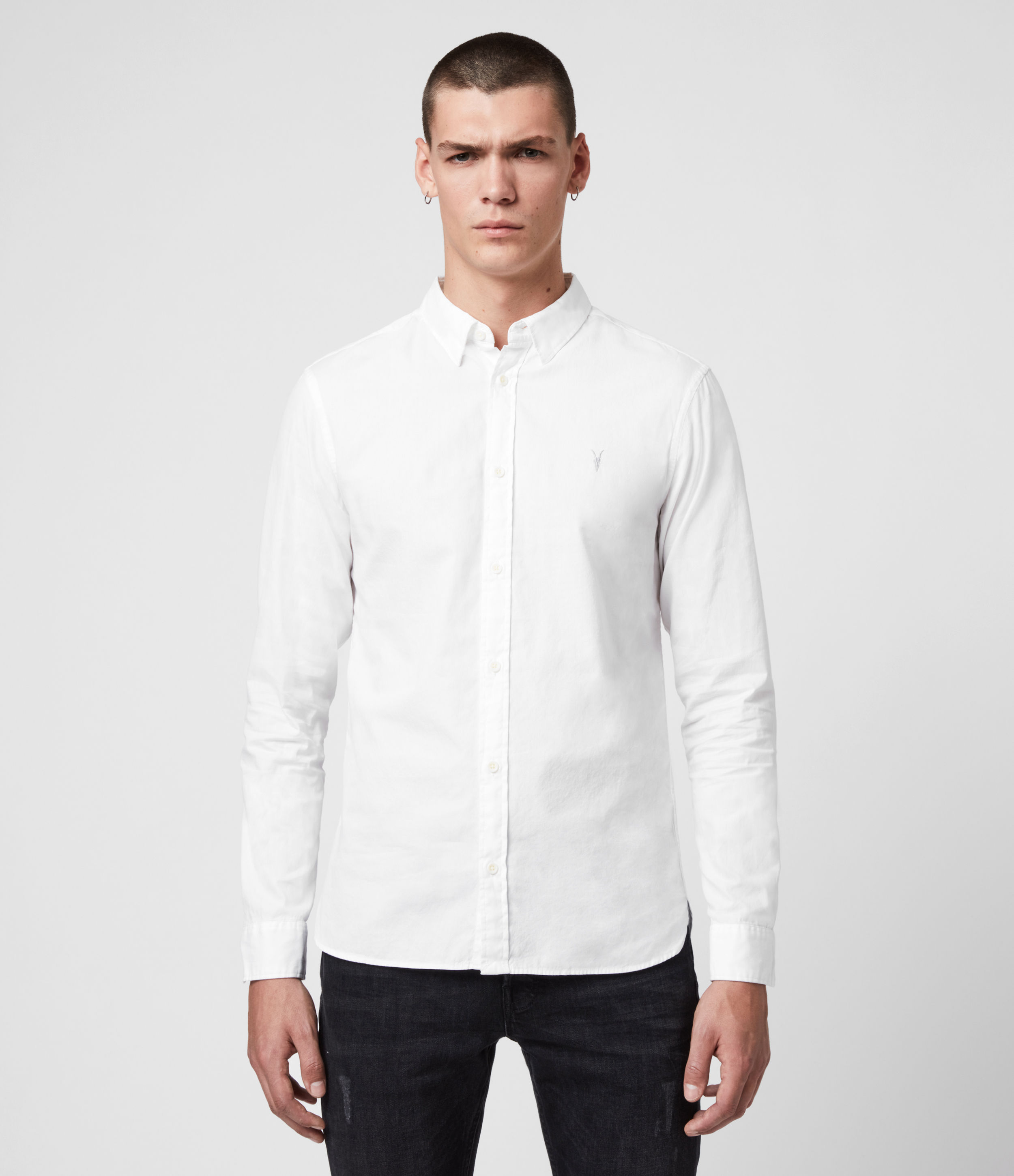 AllSaints Men's Cotton Slim Fit Redondo Long Sleeve Shirt, White, Size: XS