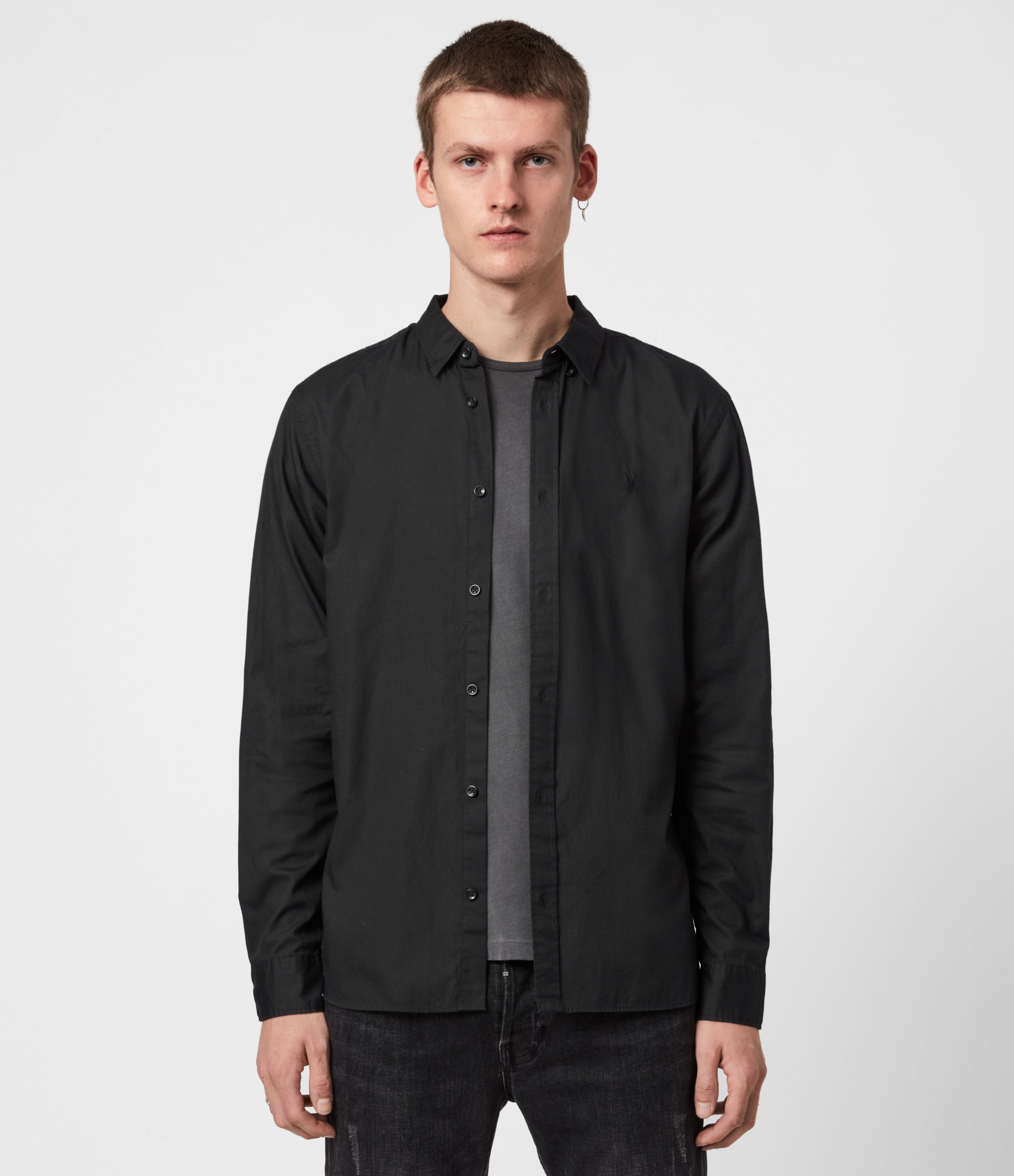 AllSaints Men's Cotton Slim Fit Redondo Long Sleeve Shirt, Black, Size: M