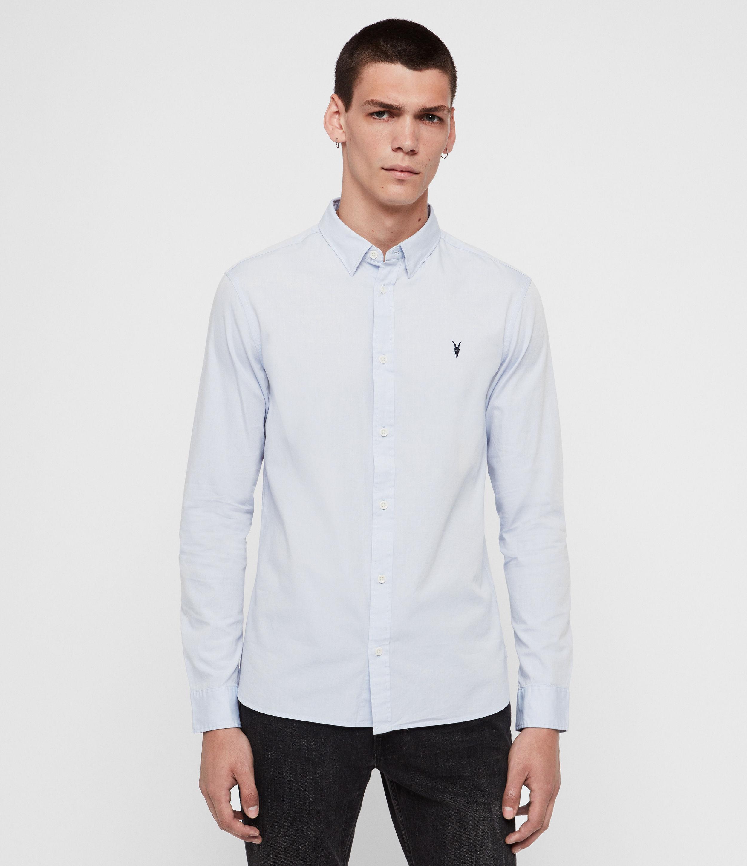 AllSaints Men's Cotton Slim Fit Redondo Long Sleeve Shirt, Light Blue, Size: XL