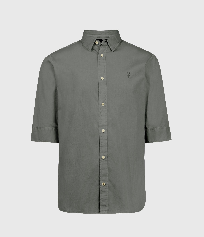 AllSaints Men's Cotton Slim Fit Redondo Half Sleeve Shirt, Green, Size: L