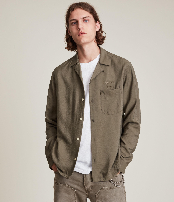 AllSaints Men's Commune Shirt, Green, Size: S