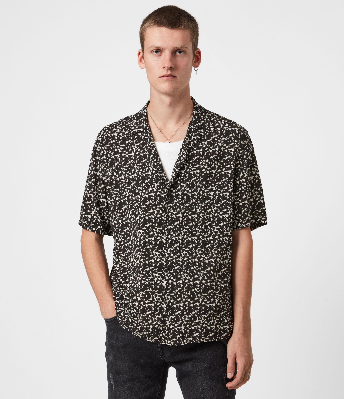 AllSaints Mens Vinyl Shirt, Jet Black/ecru, Size: S