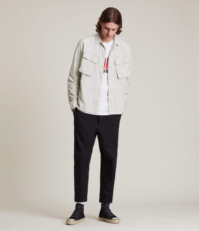AllSaints Men's Strathmoor Shirt, Olive, Size: XL