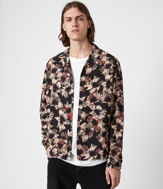 AllSaints Men's Dying Floral Shirt, Jet Black, Size: XS