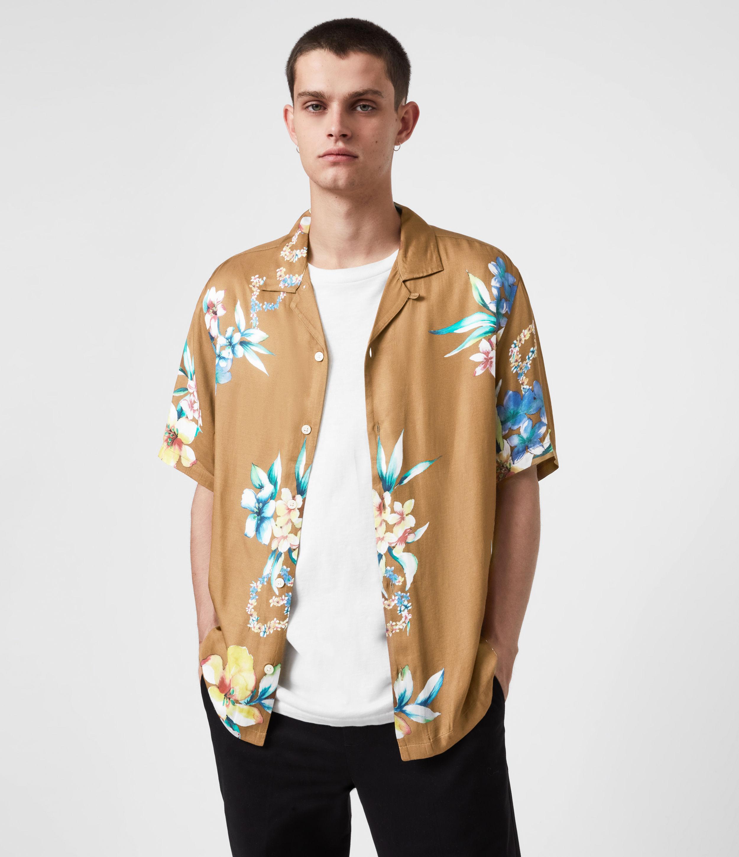AllSaints Men's Hana Shirt, Brown, Blue and White, Size: XS