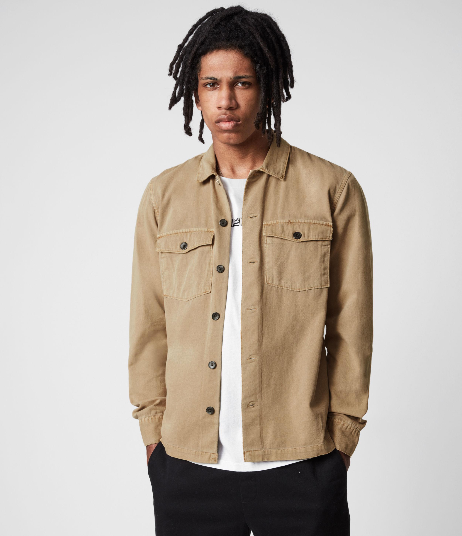 AllSaints Mens Spotter Shirt, Sahara Brown, Size: S