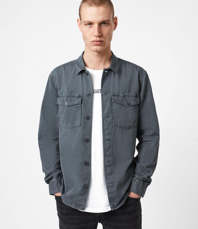 AllSaints Men's Cotton Slim Fit Spotter Shirt, Blue, Size: M