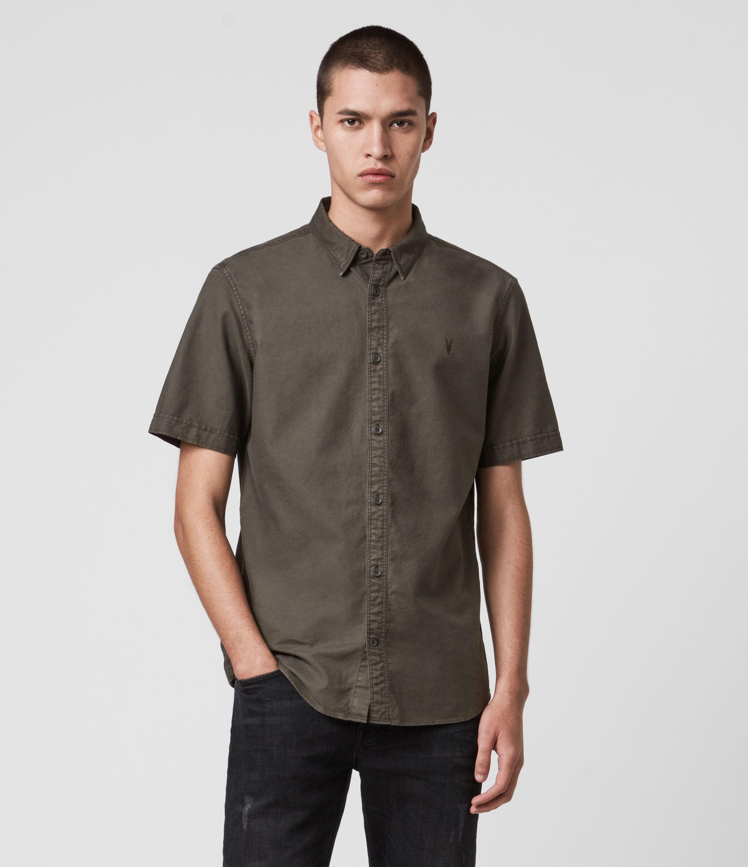 AllSaints Men's Cotton Huntingdon Short Sleeve Shirt, Grey, Size: S