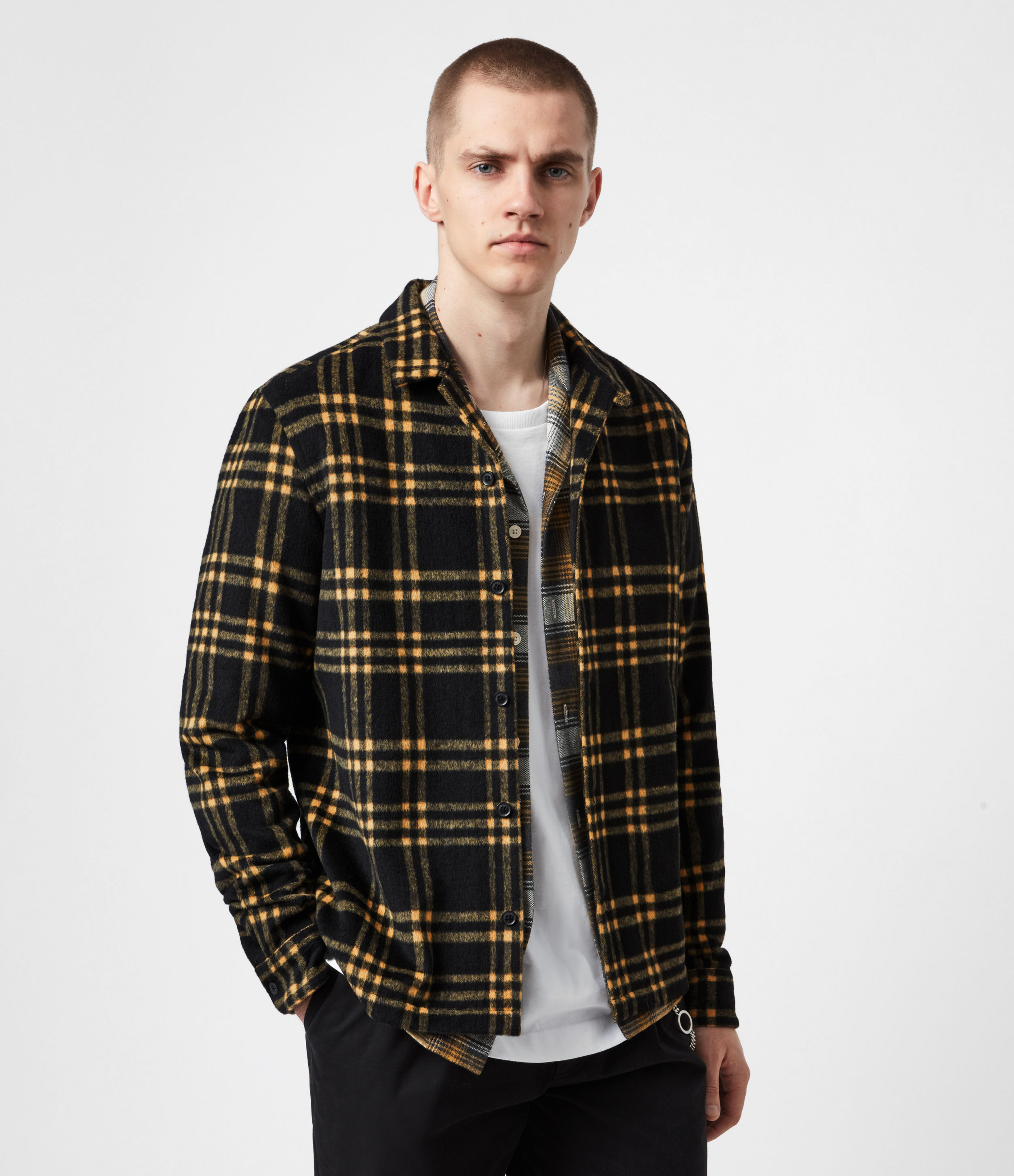 AllSaints Mens Zenith Shirt, Black/Yellow, Size: XS