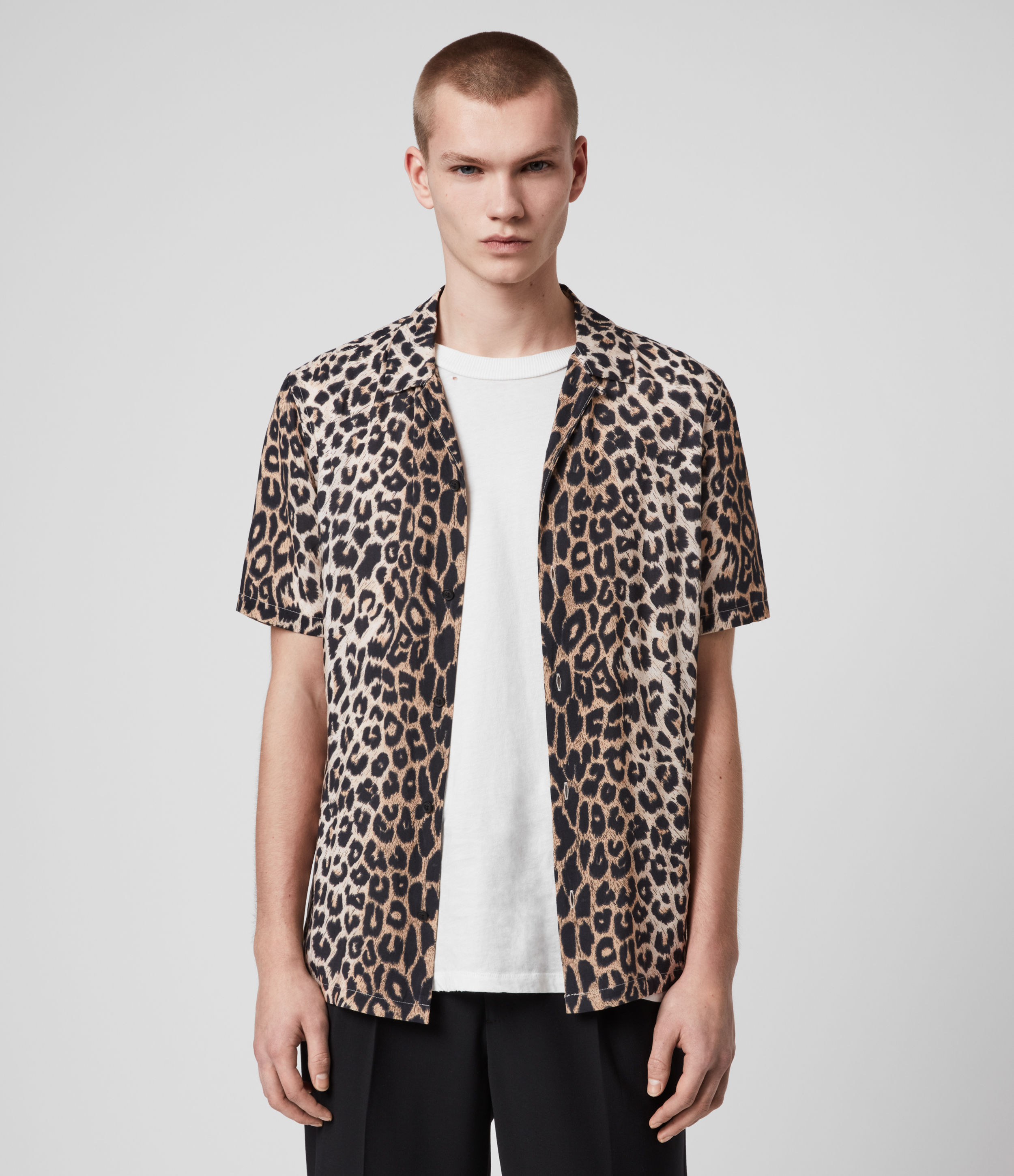 AllSaints Men's All-Over Leopard Print Lightweight Button Closure Short Sleeve Shirt, Brown and Blac