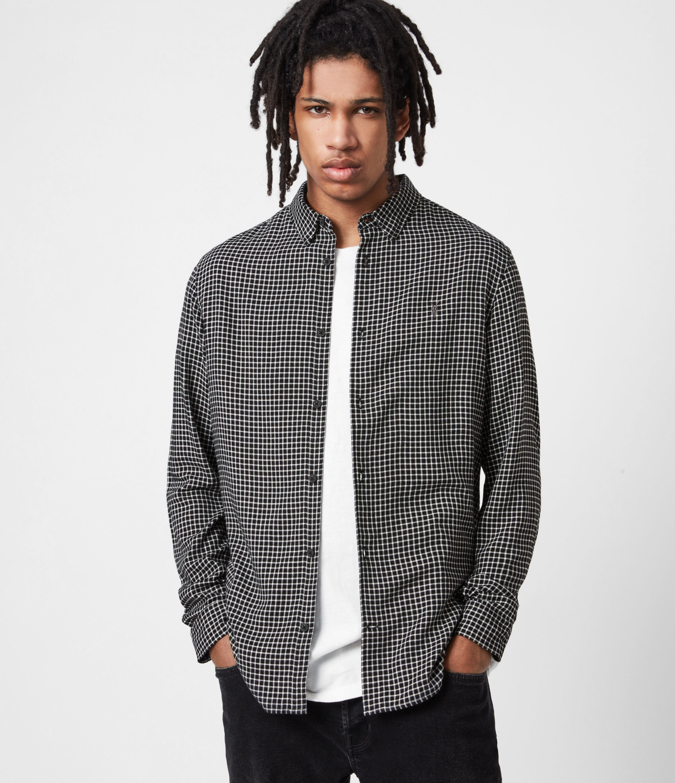 AllSaints Men's Wool Check Slim Fit Tilden Shirt, Black, Size: L