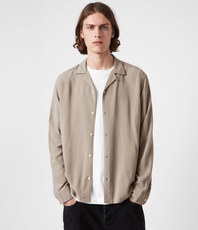 AllSaints Men's Venice Long Sleeve Shirt, Willow Taupe, Size: XXL