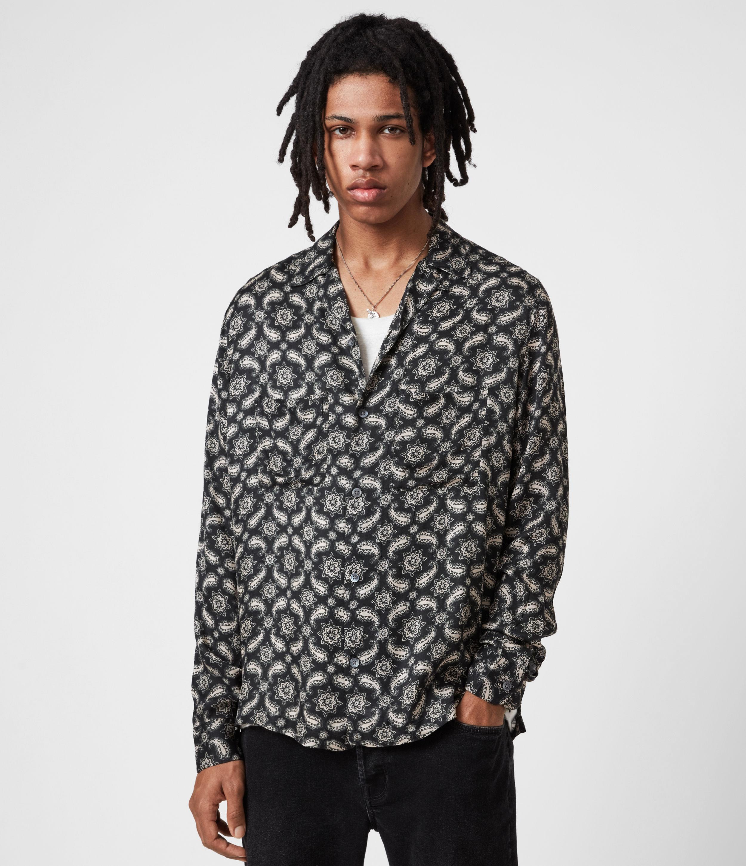 AllSaints Mens Mitte Shirt, JET Black/ecru, Size: L