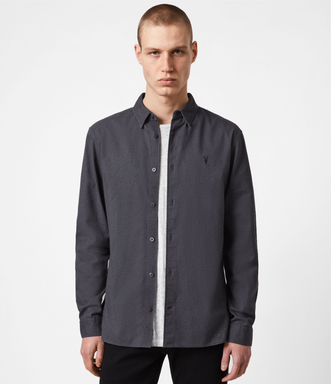 AllSaints Mens Petrel Shirt, Dark Grey/black, Size: XS