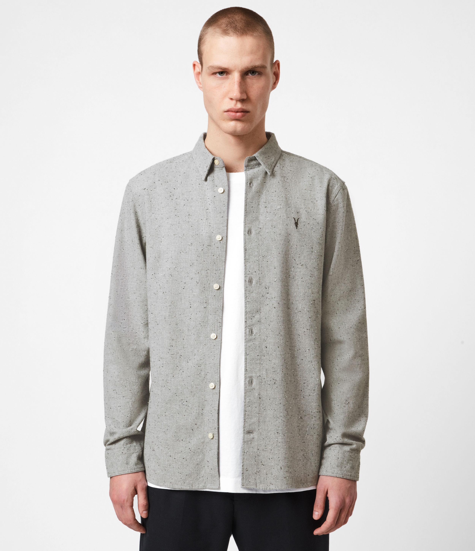 AllSaints Mens Petrel Shirt, Grey Marl/Black, Size: XL